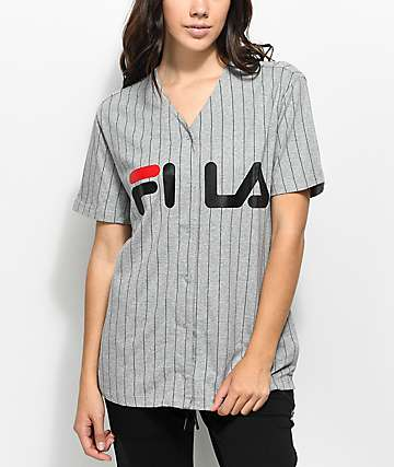 FILA jersey de béisbol en gris y negro