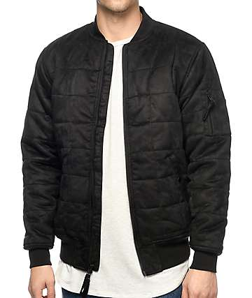 FairPlay Walt Quilted Suede Black Bomber Jacket