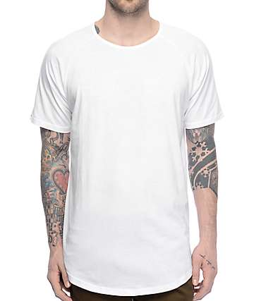Fairplay 04 Scallop Side Split camiseta blanca alargada