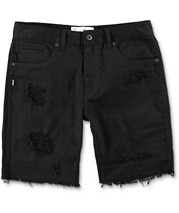 Fairplay Autoro Distressed Black Twill Shorts