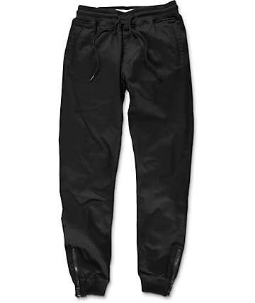 Fairplay Britton pantalones jogger asargados en negro con cremallera