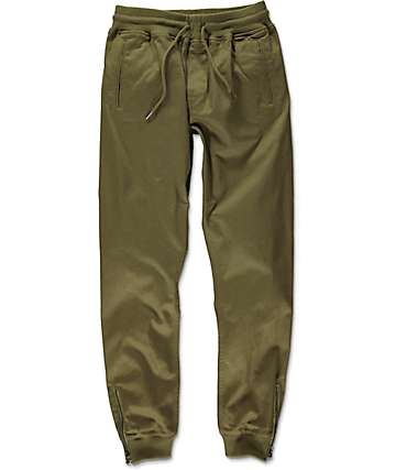 Fairplay Britton pantalones jogger asargados en verde con cremallera