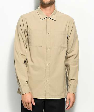 Fairplay Caldera Tan Button Up Long Sleeve Shirt