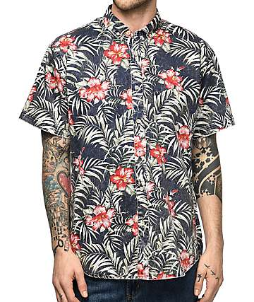 Fairplay Damas Navy Hawaiian Short Sleeve Button Up Shirt
