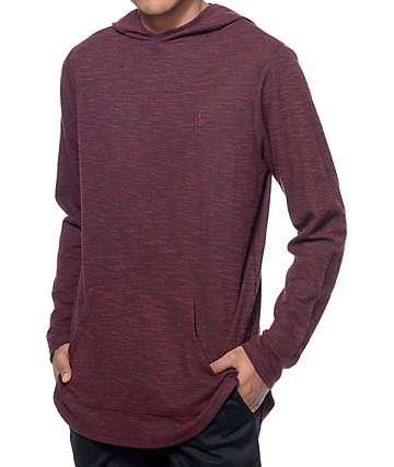 Fairplay Devin Maroon Knit Long Sleeve Hooded Shirt