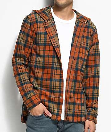 Fairplay Dimitri camisa de franela en naranja y azul marino con capucha