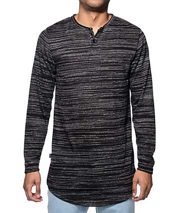 Fairplay Ellison Black Marled Long Sleeve Henley T-Shirt
