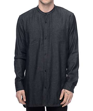 Fairplay Gehry Mandarin Black Woven Long Sleeve Shirt
