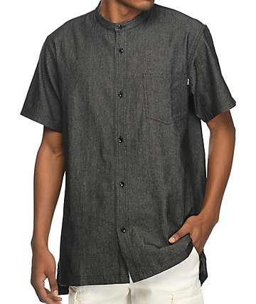 Fairplay Harshel Denim Chambray Black Indigo Short Sleeve Button Up Shirt