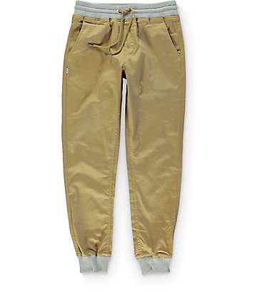 Fairplay Karson Knit Cuff Khaki Jogger Pants