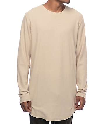 Fairplay Marcello Thermal Tan Elongated Long Sleeve Shirt