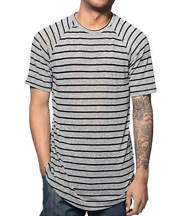 Fairplay Patterson Grey and Black Stripe Long T-Shirt