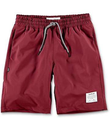 Fairplay Peeter Elastic Waist Maroon Nylon Shorts