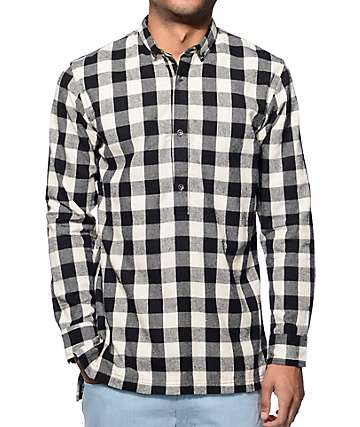 Fairplay Remi Black Long Sleeve Half Placket Button Up Shirt
