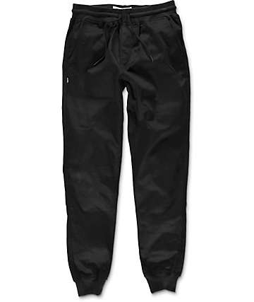 Fairplay Ribbed Cuff Black Twill Jogger Pants
