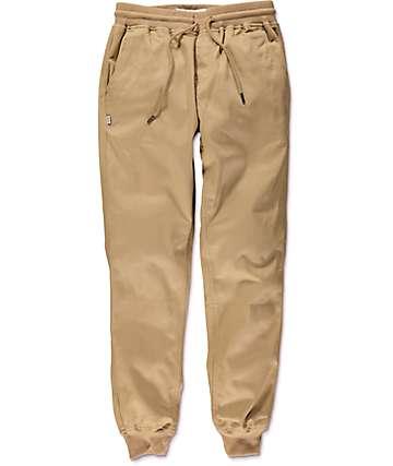 Fairplay Ribbed Cuff Khaki Twill Jogger Pants