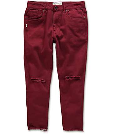 Fairplay Stellan jeans rotos cortados en color vino