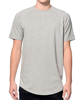 Fairplay Venice Heather Grey Raglan Elongated Long T-Shirt