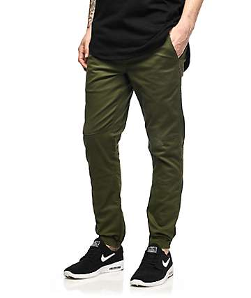 Fairplay Vischer Olive Twill Stretch Jogger Pants
