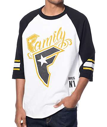 Famous Stars & Straps Wild Mesh White and Black Baseball T-Shirt