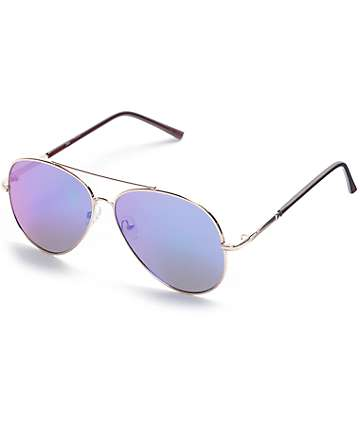Flat Lens Aviator Green & Gold Revo Sunglasses