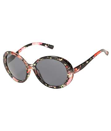 Floral Print Oversized Round Sunglasses