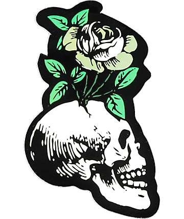 Flying Coffin Skull Flower pegatina