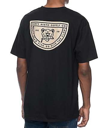 Forty Ninth Supply Co Dead Fish Flow camiseta negra