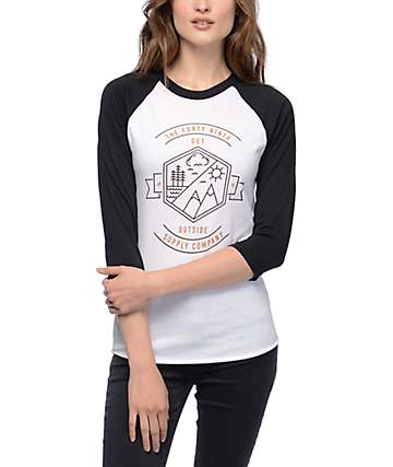 Forty Ninth Supply Co Get Outside White & Black Raglan T-Shirt