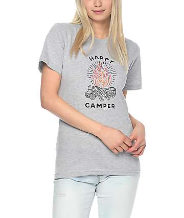 Forty Ninth Supply Co Happy Camper camiseta gris