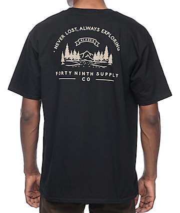 Forty Ninth Supply Co Never Lost Black T-Shirt