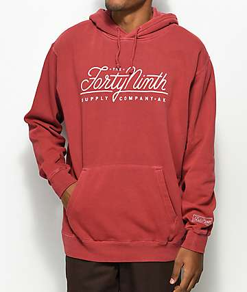 Forty Ninth Supply Co. Standard sudadera con capucha en rojo