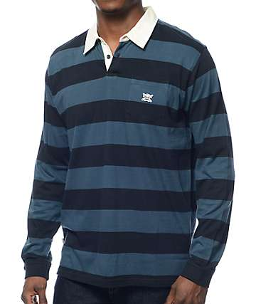 Fourstar Gonz Thundercloud Navy Long Sleeve Polo Shirt