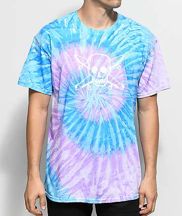Fourstar Skate Pirate Blue & Purple Tie Dye T-Shirt
