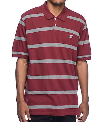 Fourstar Stripe Burgundy Polo Knit Shirt