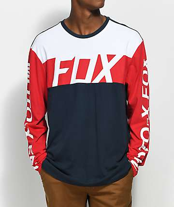 Fox Scramblur camiseta de manga larga en rojo, blanco y azul