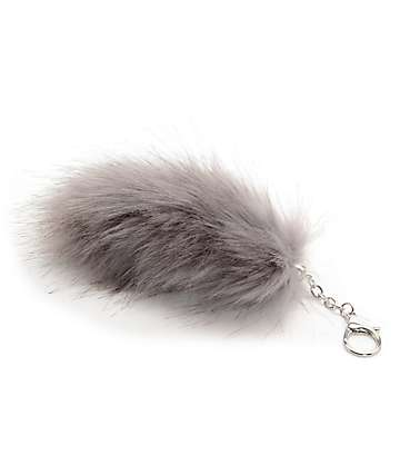 Fox Tail Dove Grey Bag Charm