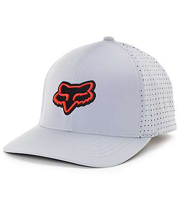 Fox Wallace Grey & Red Flexfit Hat