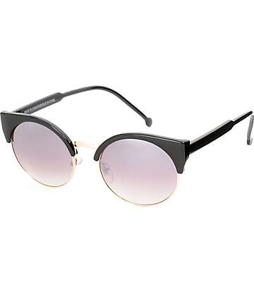 Free Spirit Black & Gold Mirror Sunglasses