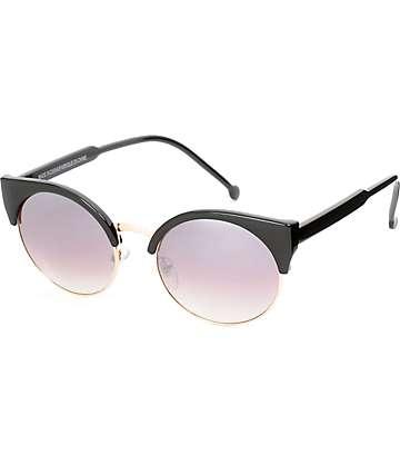 black and gold aviators e7ly  Free Spirit Black & Gold Mirror Sunglasses