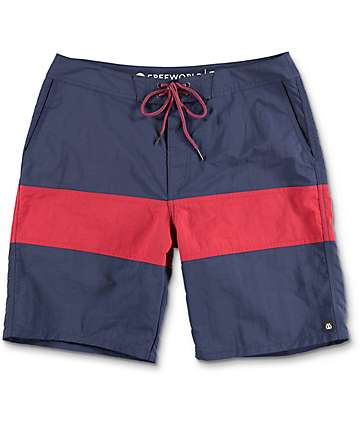 Free World Cutback Navy & Red Nylon Boardshorts