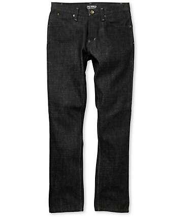 Free World Drifter Black Raw Wash Slim Jeans