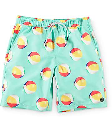 "Free World Dubtub Beach Ball Mint Easy Waist 20""  Board Shorts"