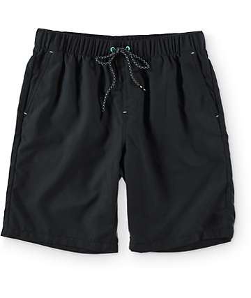 "Free World Dubtub Solid Black Easy Waist 20""  Board Shorts"