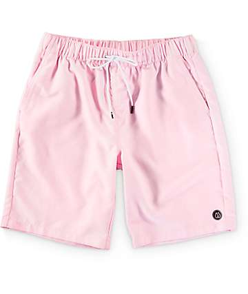 "Free World Dubtub Solid Pink Easy Waist 20""  Board Shorts"