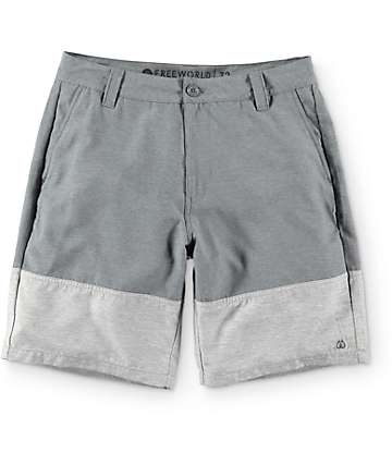 Free World Gold Coast Grey and Charcoal Hybrid Shorts