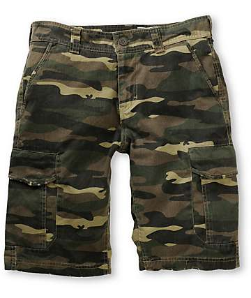 Free World Head Honcho Olive Camo Cargo Shorts