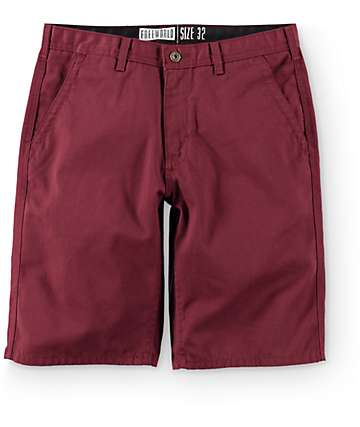 Free World Hooligan Burgundy Chino Shorts