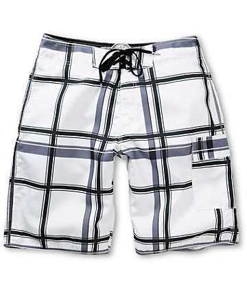 Free World Laguna White Plaid Board Shorts