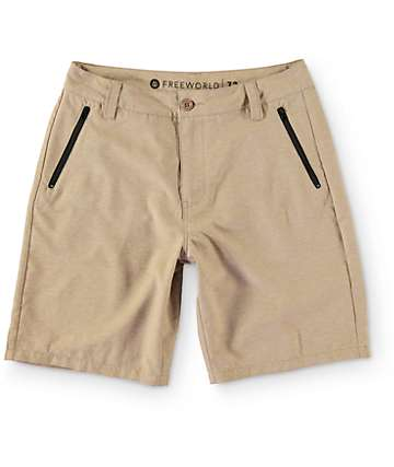 Free World Mavericks Dark Khaki Tech Hybrid Shorts
